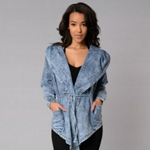 Fashion Nova Jackets Coats Hooded Tie Waist Jean Jacket Poshmark